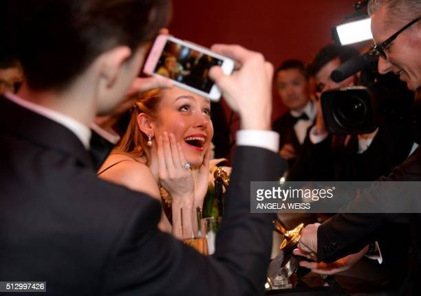 TOPSHOT Actress Brie Larson winner of the Best Actress award for 'Room' attends the 88th Annual Academy Awards Governors Ball at Hollywood Highland...