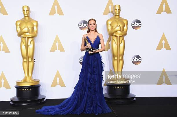 Actress Brie Larson winner of the Best Actress award for 'Room' poses in the press room during the 88th Annual Academy Awards at Loews Hollywood...