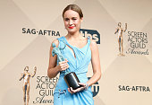 Actress Brie Larson winner of the Outstanding Performance by a Female Actor in a Leading Role award for 'Room' poses in the press room during the...