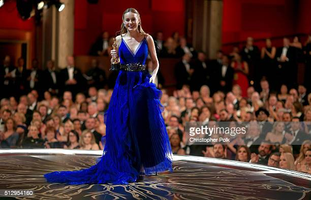 Actress Brie Larson wins Best Actress for 'Room' during the 88th Annual Academy Awards at Dolby Theatre on February 28 2016 in Hollywood California