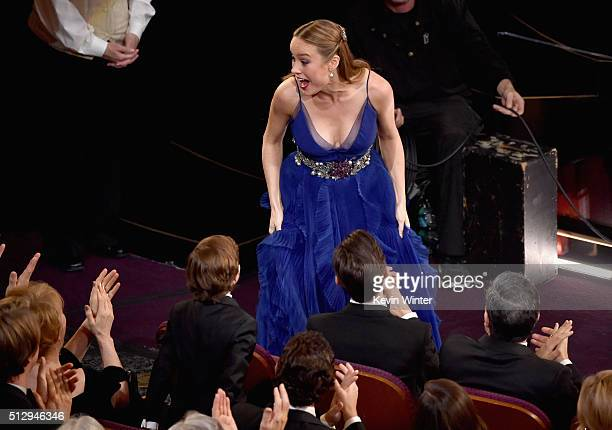 Actress Brie Larson wins the Best Actress award for 'Room' during the 88th Annual Academy Awards at the Dolby Theatre on February 28 2016 in...