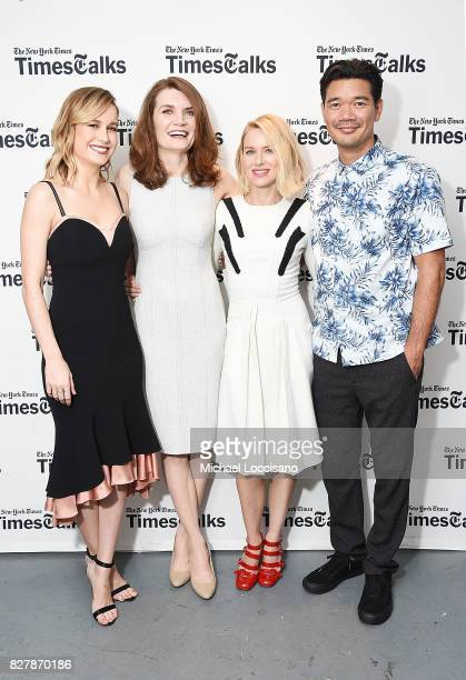 Actress Brie Larson writer Jeannette Walls actress Naomi Watts and director Destin Daniel Cretton pose before the TimesTalks Series presentation of...