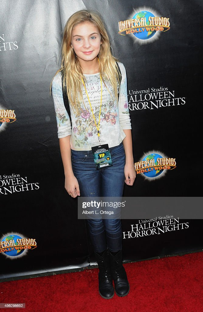 Actress Brighton Sharbino arrives for Universal Studios Hollywood 'Halloween Horror Nights' Kick Off With The Annual 'Eyegore Awards' held at Universal Studios Hollywood on September 19, 2014 in Universal City, California.