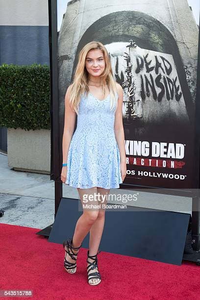 Actress Brighton Sharbino attends the Press Event For 'The Walking Dead' Attraction 'Don't Open Dead Inside' at Universal Studios Hollywood on June...
