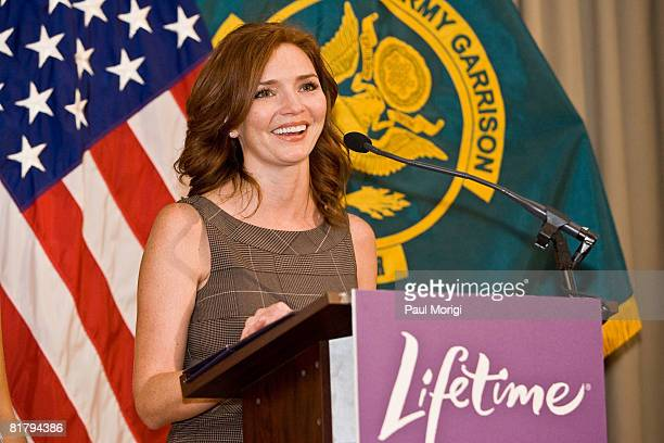 Actress Brigid Brannagh talks to the soldiers at the Lifetime Television screening of 'Army Wives' at Walter Reed Army Medical Center on July 1 2008...