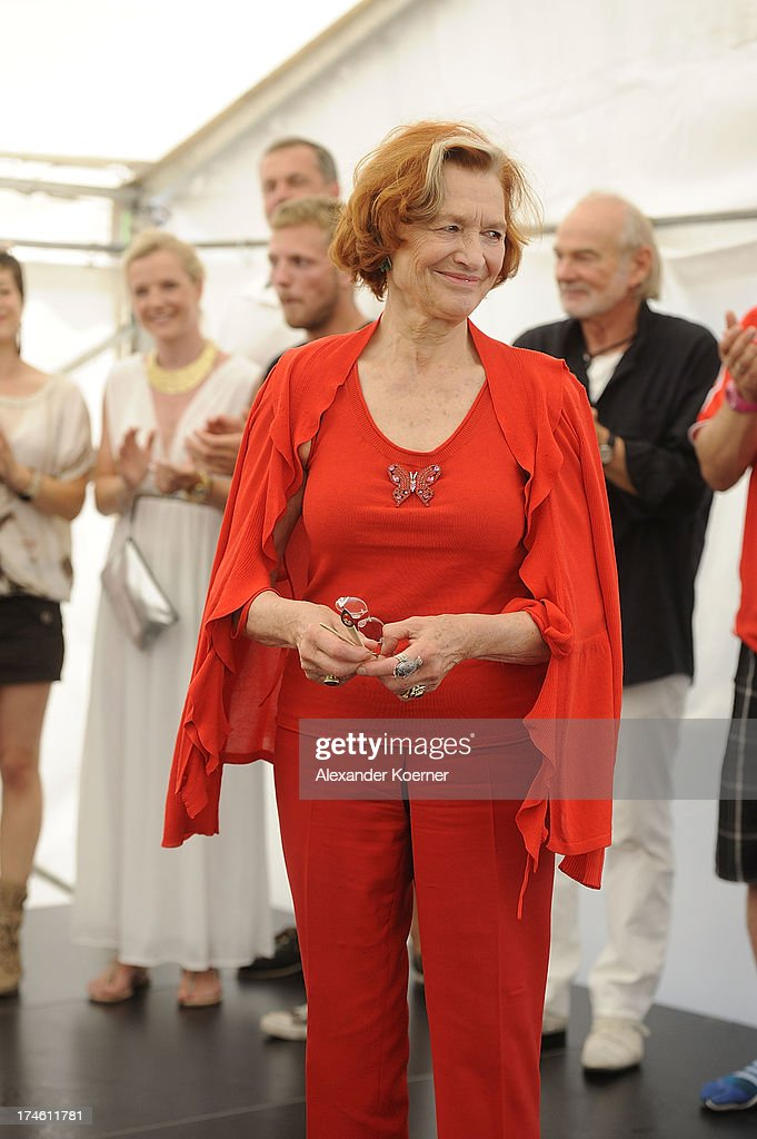 Actress Brigitte Antonius is been pictured during the 'Rote Rosen Fan-Tag 2013' on July 28, 2013 in Luneburg, Germany. More than 3500 fans of the daily television telenovela 'Rote Rosen' came to see the Studios and to meet their favorite actor.
