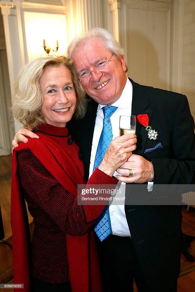 Actress Brigitte Fossey and Alain Duault attend as Alain Duault is honored with the Insignia of Officer of the Legion of Honor at Salle Gaveau on...