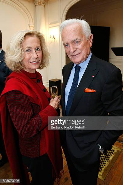 Actress Brigitte Fossey and Philippe Labro attend as Alain Duault is honored with the Insignia of Officer of the Legion of Honor at Salle Gaveau on...