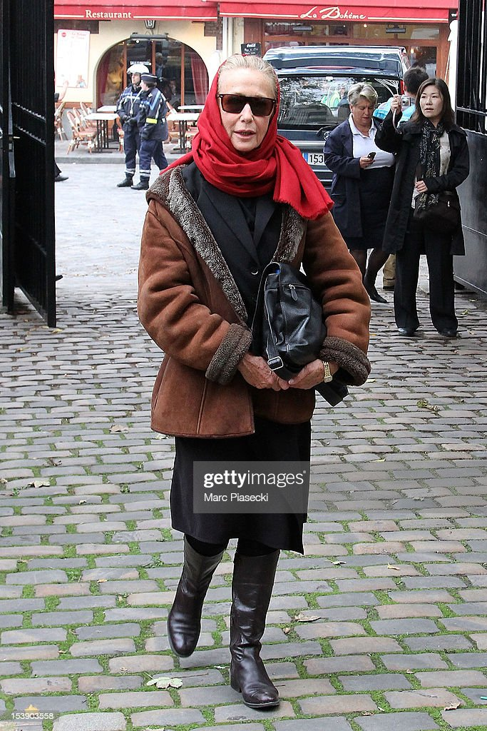 Actress Brigitte Fossey arrives to attend director Claude Pinoteau's funeral on October 11, 2012 in Paris, France.
