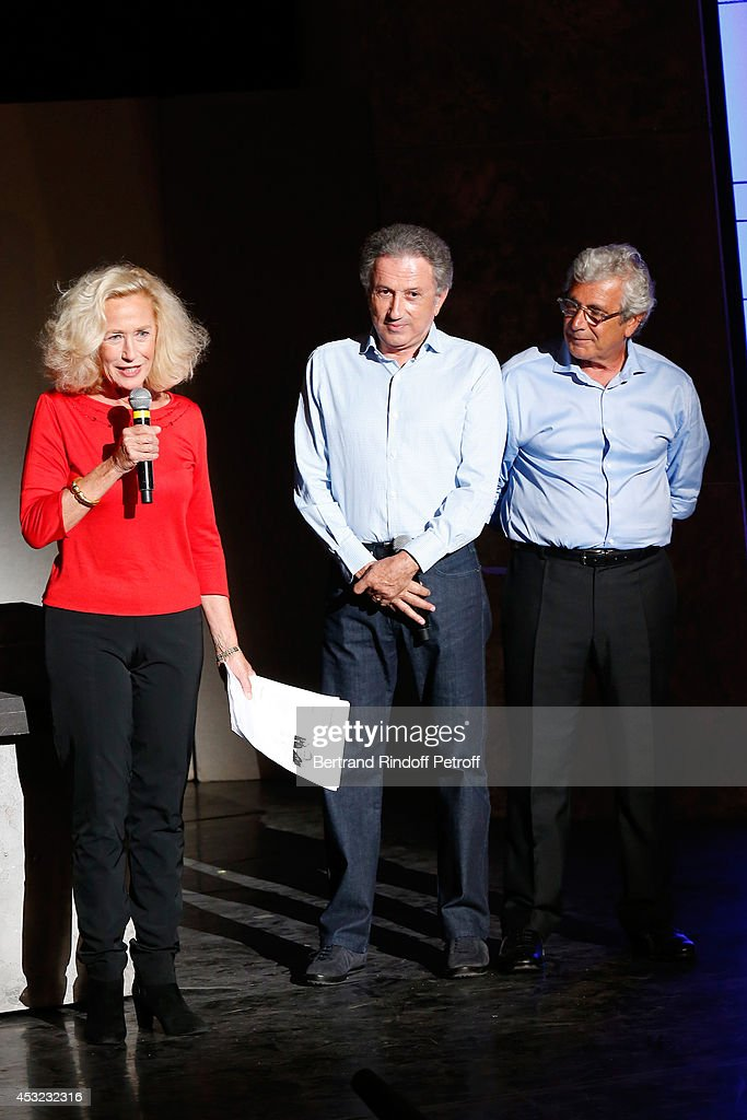 Actress Brigitte Fossey presents 'L'Affrontement' play TV presenter Michel Drucker says 'Happy Birthday to Ramatuelle Festival' and Artistic Director...