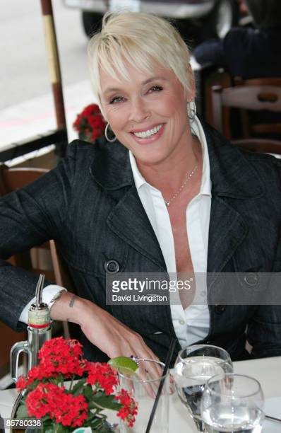 Actress Brigitte Nielsen poses while having lunch on April 2 2009 in Beverly Hills California