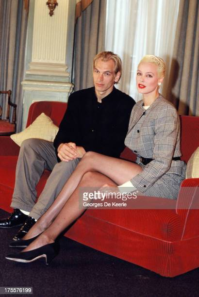 Actress Brigitte Nielsen with actor Julian Sands on February 1989 in London England They are costarring in the television movie 'Murder on the Moon'...