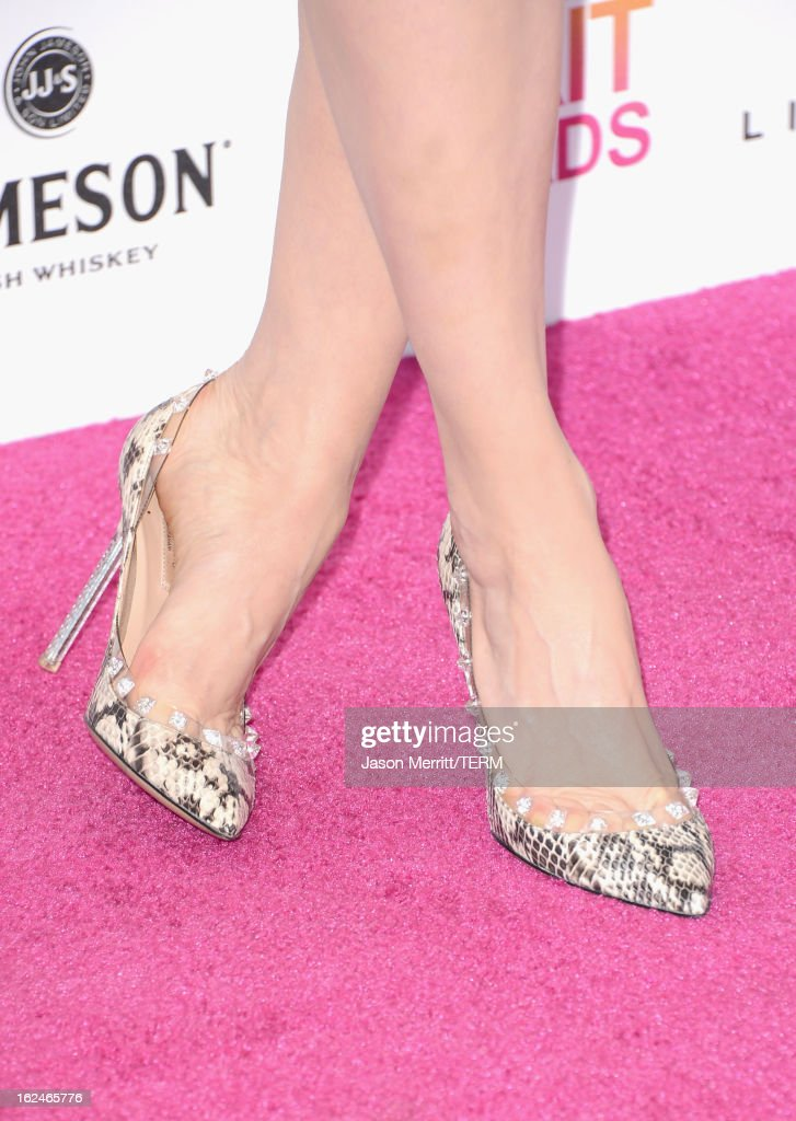 Actress Brit Marling (shoe detail) attends the 2013 Film Independent Spirit Awards at Santa Monica Beach on February 23, 2013 in Santa Monica, California.