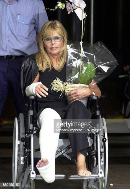 Actress Britt Ekland leaving the Hammersmith Hospital London after being treated for a fractured wrist and ankle that she sustained at the Kerrang...