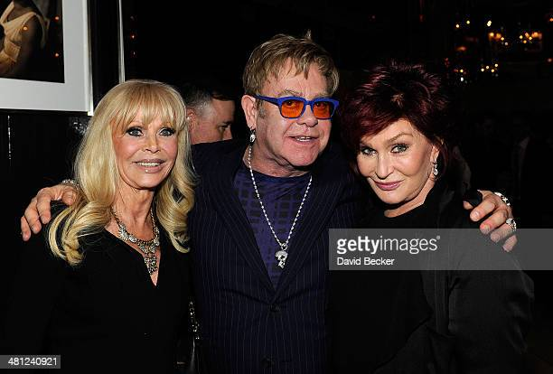 Actress Britt Ekland recording artist Sir Elton John and television personality Sharon Osbourne attend the grand opening of FIZZ Las Vegas inside...