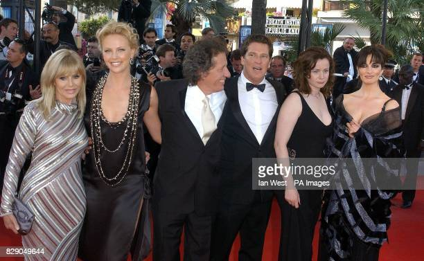 actress Britt Ekland with stars of the film Charlize Theron Geoffrey Rush director Stephen Hopkins Emily Watson and Sonia Aquino arrive for the...
