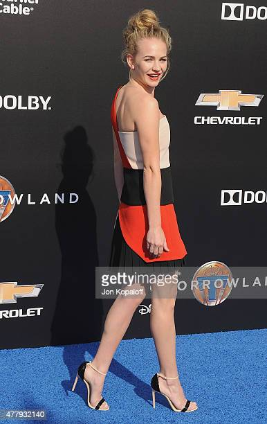 Actress Britt Robertson arrives at the Los Angeles Premiere of Disney's 'Tomorrowland' at AMC Downtown Disney on May 9 2015 in Lake Buena Vista...