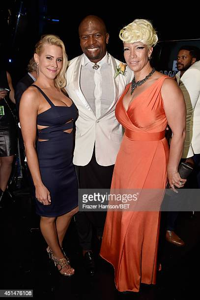 Actress Brittany Daniel actor Terry Crews and Rebecca Crews attend the BET AWARDS '14 at Nokia Theatre LA LIVE on June 29 2014 in Los Angeles...