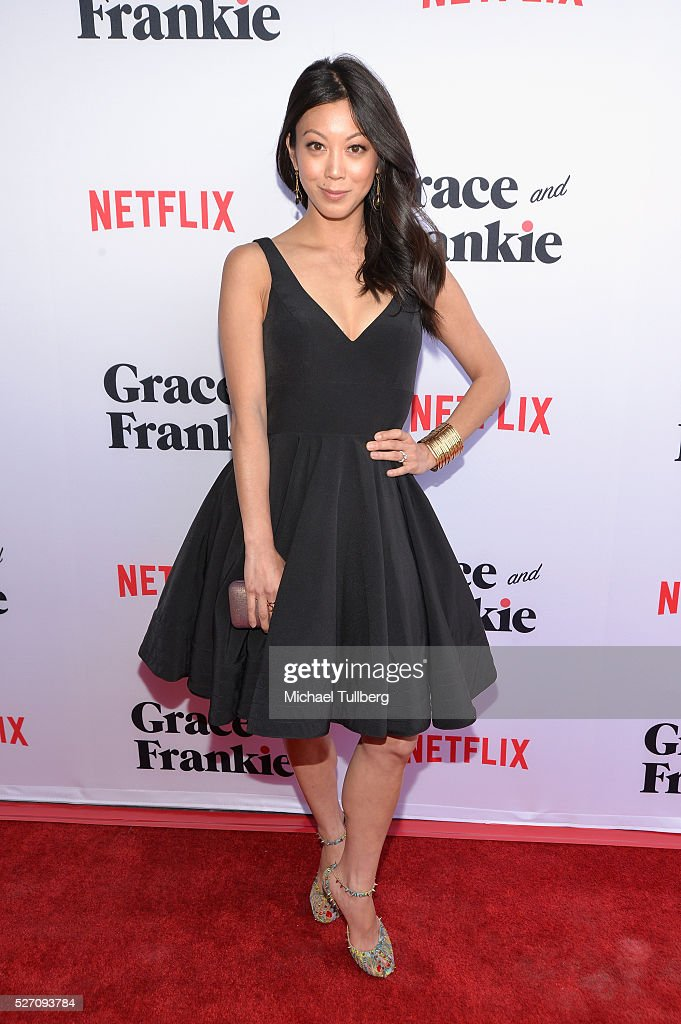 Actress <a gi-track='captionPersonalityLinkClicked' href=/galleries/search?phrase=Brittany+Ishibashi&family=editorial&specificpeople=5460200 ng-click='$event.stopPropagation()'>Brittany Ishibashi</a> attends the premiere of Season 2 of the Netflix Original Series 'Grace & Frankie' at Harmony Gold on May 1, 2016 in Los Angeles, California.