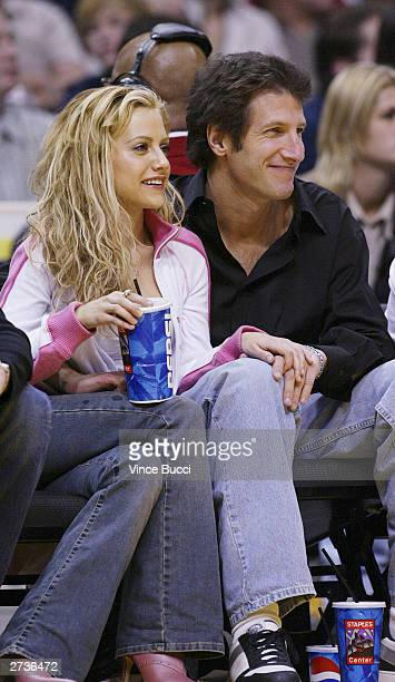 Actress Brittany Murphy and date attend the game between the Los Angeles Lakers and the Miami Heat on November 16 2003 at the Staples Center in Los...