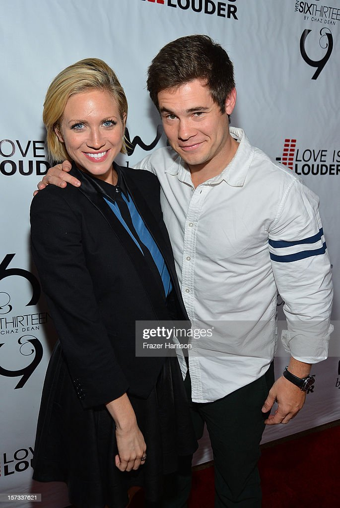 Actress Brittany Snow and Adam DeVine arrives at Chaz Dean's Holiday Party Benefitting the Love is Louder Movement on December 1, 2012 in Los Angeles, California.