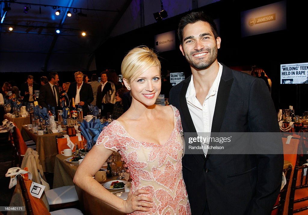 Actress Brittany Snow (L) and Ryan Rottman attend the 2013 Film Independent Spirit Awards at Santa Monica Beach on February 23, 2013 in Santa Monica, California.