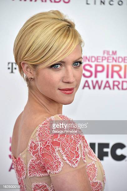 Actress Brittany Snow arrive at the 2013 Film Independent Spirit Awards at Santa Monica Beach on February 23 2013 in Santa Monica California on...