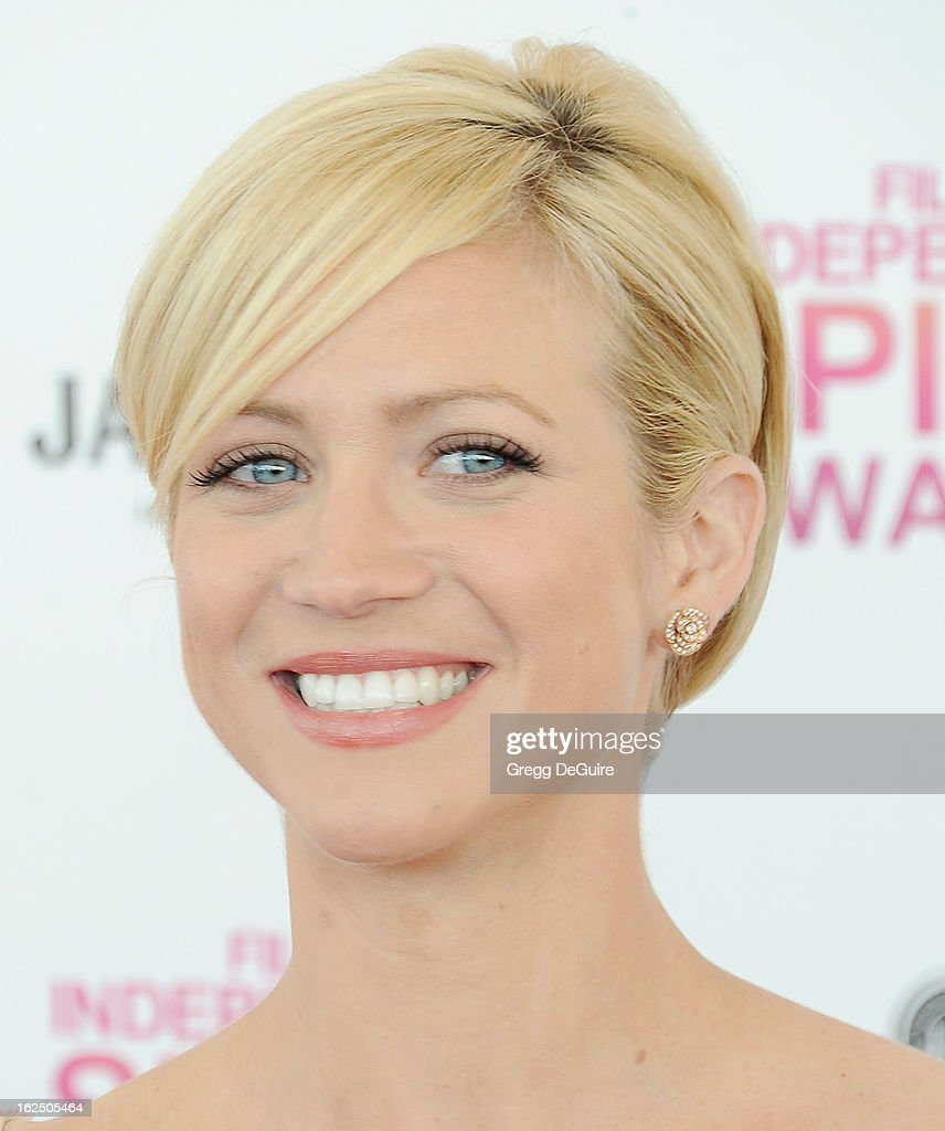 Actress Brittany Snow arrives at the 2013 Film Independent Spirit Awards at Santa Monica Beach on February 23, 2013 in Santa Monica, California.
