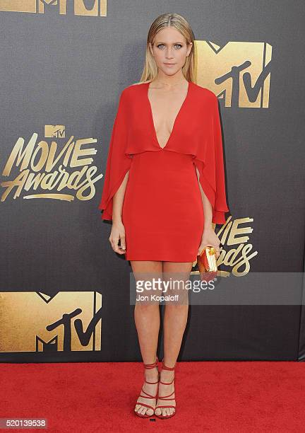 Actress Brittany Snow arrives at the 2016 MTV Movie Awards at Warner Bros Studios on April 9 2016 in Burbank California