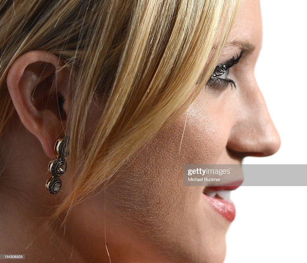 Actress <a gi-track='captionPersonalityLinkClicked' href=/galleries/search?phrase=Brittany+Snow&family=editorial&specificpeople=206624 ng-click='$event.stopPropagation()'>Brittany Snow</a> (Earring Detail) arrives at The 3rd Annual Autumn Party Feature a fashion show by J. Mendel Benefitting Children's Institute, Inc. at The London on October 17, 2012 in West Hollywood, California.