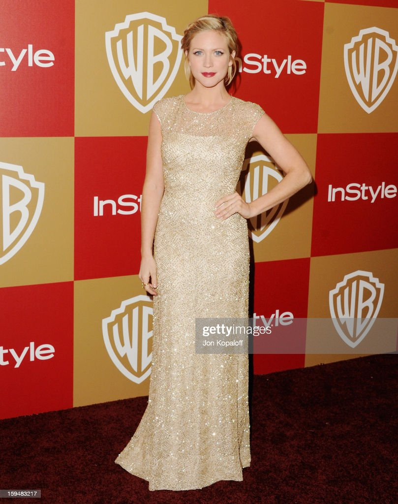 Actress Brittany Snow arrives at the InStyle And Warner Bros. Golden Globe Party at The Beverly Hilton Hotel on January 13, 2013 in Beverly Hills, California.