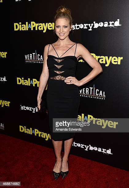 Actress Brittany Snow arrives at the Los Angeles premiere of 'Dial A Prayer' at the Landmark Theater on April 7 2015 in Los Angeles California
