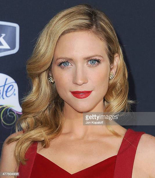 Actress Brittany Snow arrives at the Los Angeles Premiere 'Pitch Perfect 2' at Nokia Theatre LA Live on May 8 2015 in Los Angeles California