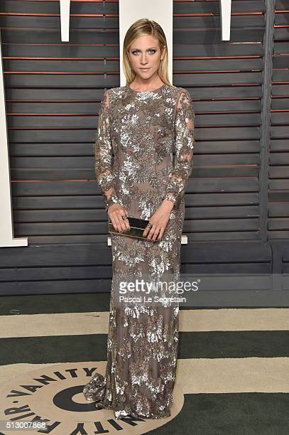 Actress Brittany Snow attends the 2016 Vanity Fair Oscar Party Hosted By Graydon Carter at the Wallis Annenberg Center for the Performing Arts on...