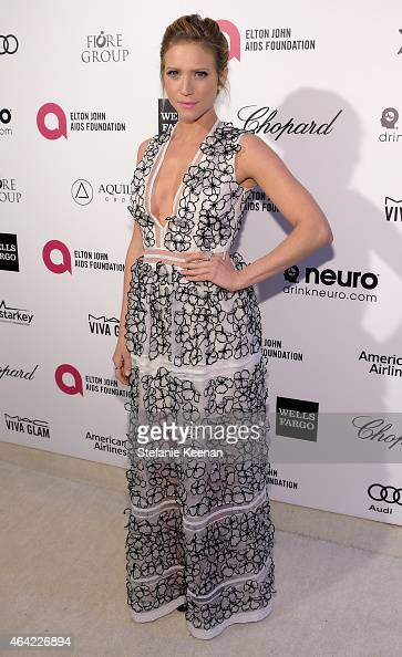 Actress Brittany Snow attends the 23rd Annual Elton John AIDS Foundation Academy Awards viewing party with Chopard on February 22 2015 in Los Angeles...