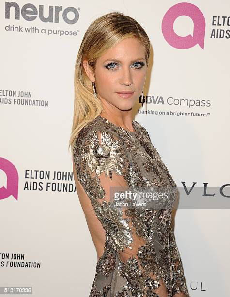 Actress Brittany Snow attends the 24th annual Elton John AIDS Foundation's Oscar viewing party on February 28 2016 in West Hollywood California