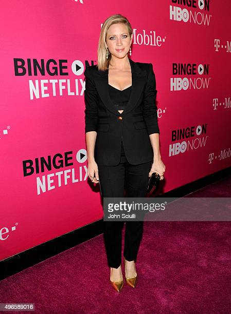 Actress Brittany Snow attends TMobile Uncarrier X Launch Celebration at The Shrine Auditorium on November 10 2015 in Los Angeles California