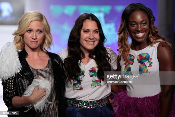 Actress Brittany Snow designer Stacy Igel and American professional tennis player Sloane Stephens walk the runway during Just Dance with Boy Meets...