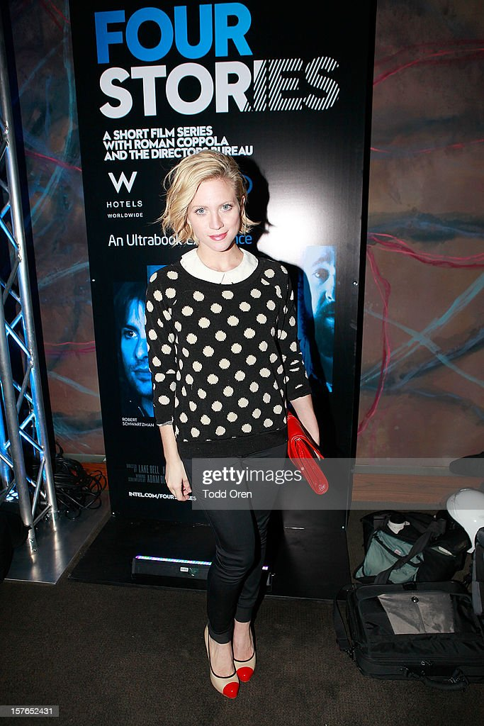 Actress Brittany Snow poses at the Intel and W Hotels present Four Stories Film Series at W Hotel Los Angeles - Westwood on December 4, 2012 in Westwood, California.