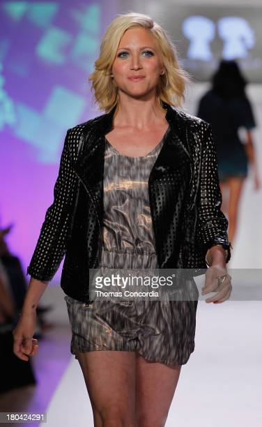 Actress Brittany Snow walks the runway during Just Dance with Boy Meets Girl show at the STYLE360 Fashion Pavilion in Chelsea on September 12 2013 in...