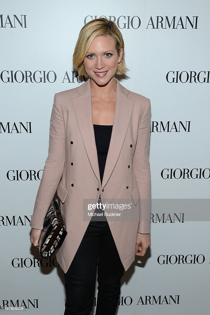 Actress Brittany Snow, wearing Giorgio Armani attends the Giorgio Armani Beauty Luncheon on December 6, 2012 in Beverly Hills, California.