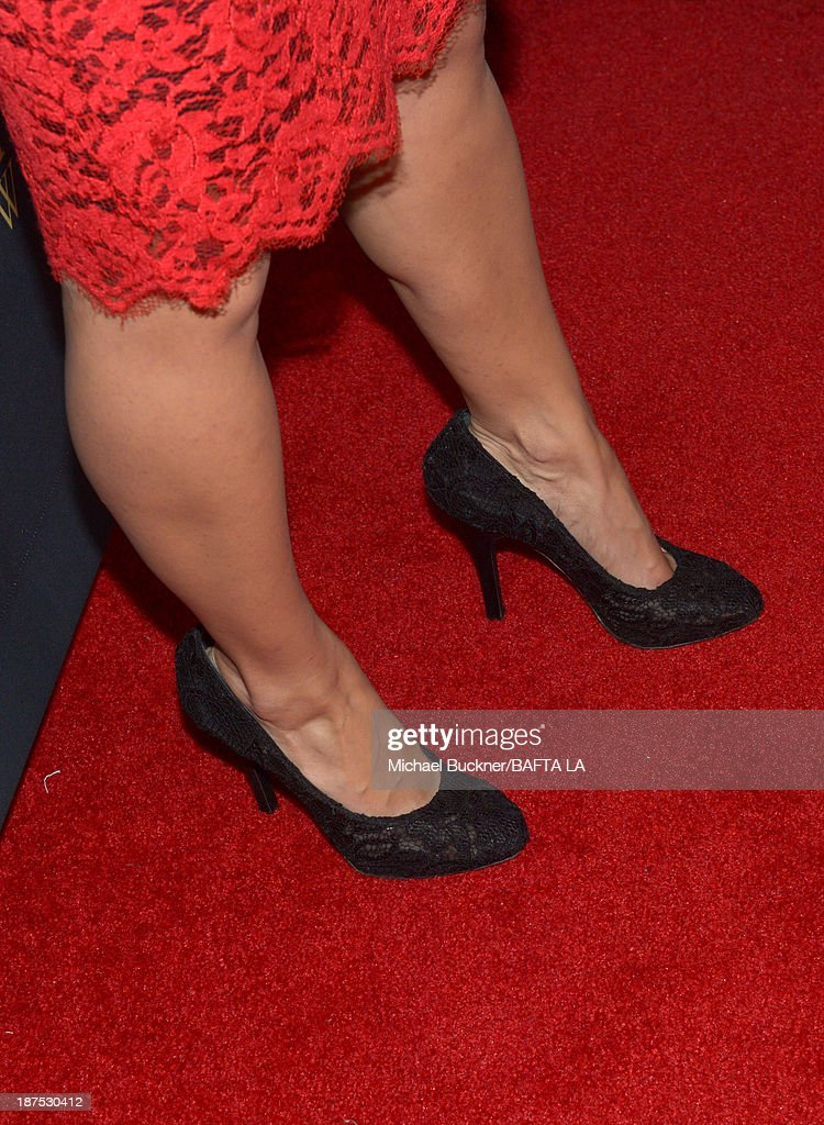 Actress Bérénice Marlohe (shoe detail) attends the 2013 BAFTA LA Jaguar Britannia Awards presented by BBC America at The Beverly Hilton Hotel on November 9, 2013 in Beverly Hills, California.
