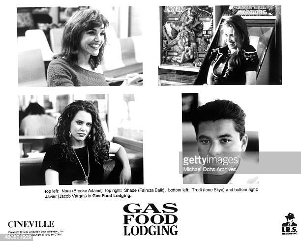 Actress Brooke Adams Fairuza Balk on set actress Ione Skye actor Jacob Vargas in a scene from the movie 'Gas Food Lodging' circa 1992