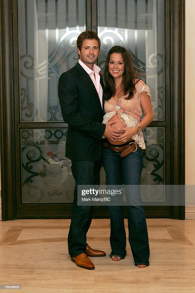 Actress Brooke Burke and fiance actor David Charvet pose during the Baby Shower for Brooke Burke held at a private residence on December 10 2006 in...