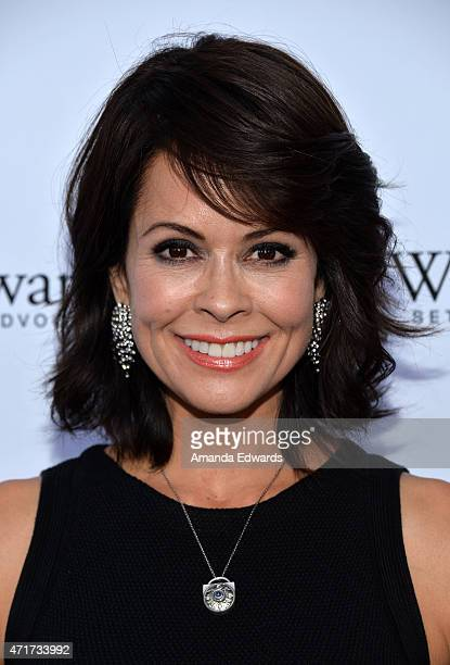 Actress Brooke BurkeCharvet arrives at the World Of Children Award 2015 Alumni Honors event at Il Cielo on April 30 2015 in Beverly Hills California