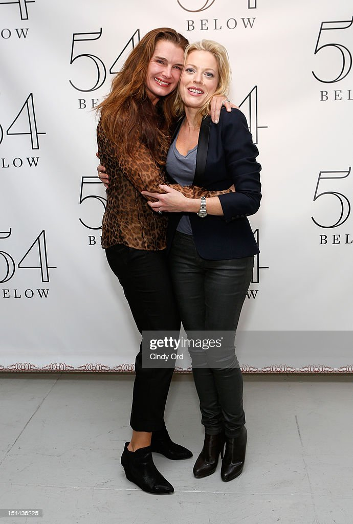 Actress Brooke Sheilds poses with actress/ singer <a gi-track='captionPersonalityLinkClicked' href=/galleries/search?phrase=Sherie+Rene+Scott&family=editorial&specificpeople=214727 ng-click='$event.stopPropagation()'>Sherie Rene Scott</a> backstage prior to her performance at 54 Below on October 19, 2012 in New York City.