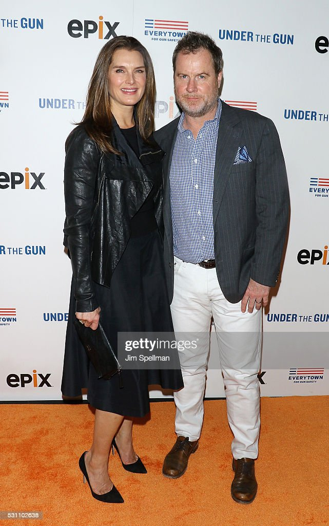 Actress Brooke Shields and Chris Henchy attend the New York premiere of EPIX's 'Under The Gun' at Walter Reade Theater on May 12, 2016 in New York City.