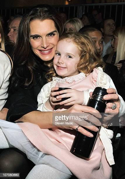Actress Brooke Shields and daughter Rowan Henchy attend the Saks Fifth Avenue light show spectacle 'The Snowflake and the Bubble' and Holiday Window...