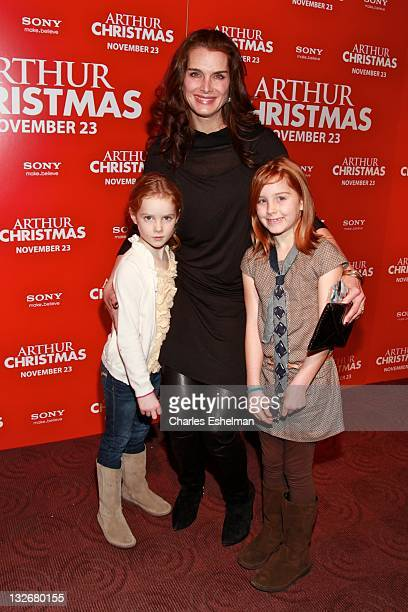 Actress Brooke Shields and daughters Grier Henchy and Rowan Henchy attend the 'Arthur Christmas' premiere at the Clearview Chelsea Cinemas on...