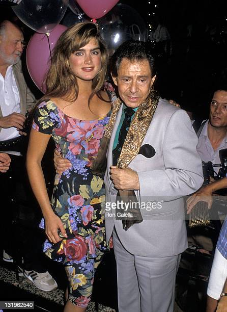 Actress Brooke Shields and entertainer Eddie Fisher attend Eddie Fisher's 60th Birthday Party on August 10 1988 at Stringfellow's of New York in New...